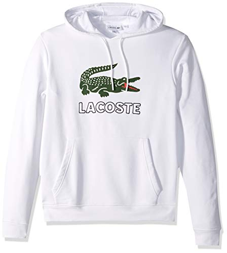 Lacoste Men's Long Sleeve Graphic Croc Brushed Fleece Jersey Hoodie, White, X-Large