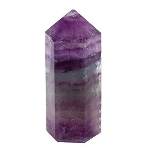 QGEM Fluorite Self Standing 50mm Healing Crystal Point Wand Faceted Prism Wand Carved Reiki Stone Figurine with Box Gift (Multi Crystal Fluorite)