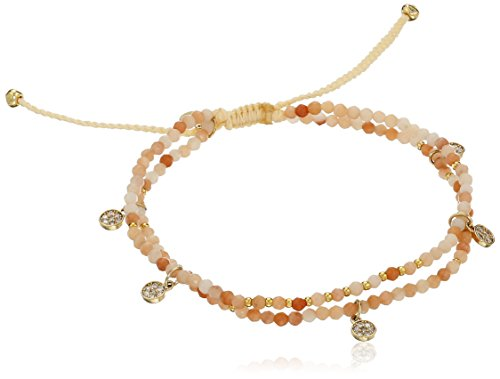 Tai Mini Disc Charm Multi-Peach Strand Bracelet - Color Minidisc