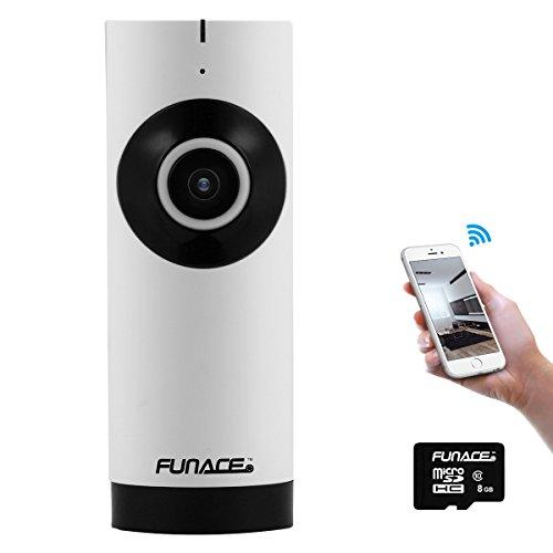 FunAce Mini 180 Degree Fisheye WiFi IP Network Wireless HD Camera with 8 GB MicroSD Card