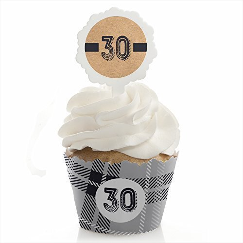 30th Milestone Birthday - Dashingly Aged to Perfection - Cupcake Wrapper & Pick Party Kit - Set of 24