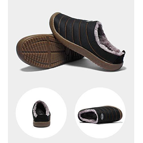 Pour Hiver Peluche Pantoufles Noir D'extérieur Chaussures D'intérieur Intérieur Femme Chaud Coton Et Imperméables Uirend Femmes Maison Chaussons Respirante nFHCWxwZ