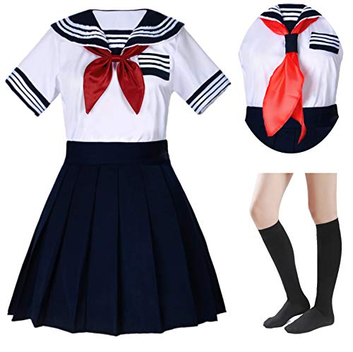 Japanese School Girls Short Sleeve Uniform Sailor Navy Blue Pleated Skirt Anime Cosplay Costumes with Socks Set(SSF33) M(Tag L) -