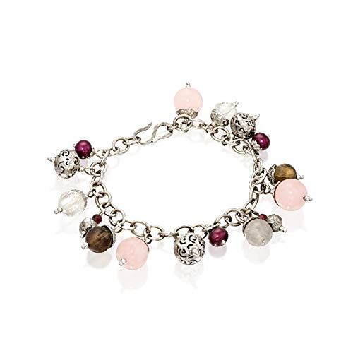 (Paz Creations .925 Sterling Silver Multi Gemstone Charm Bracelet (8, Rose-Quartz))