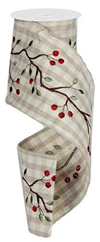 Embroidered Ribbon/Garland with Rustic Berry Branch Design on Beige/Ivory Gingham Check, 4
