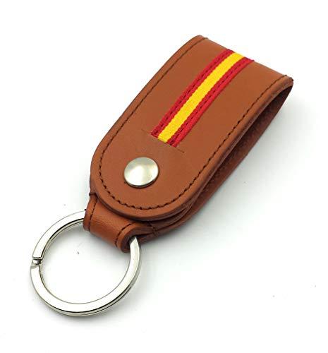 FJR-ArtPiel - Llavero en Piel Ubrique para cinturón con bandera de España - Alta Calidad - Habana: Amazon.es: Handmade
