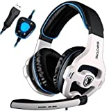 [New Updated PC Gaming Headphones] SADES SA903 USB 7.1 Stereo Surround Computer Gaming Headset with Microphone,Volume Control(White and Blue)