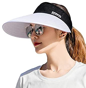 AUNIY Sun Visor Hats for Women, Large Brim UV Protection Summer Beach Cap, 5.5''Wide Brim (Black & White)