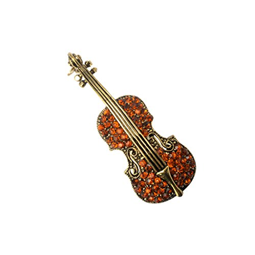 (Generic Charming Brown Vintage Violin Crystal Autumn Clothing Accessories Brooch)