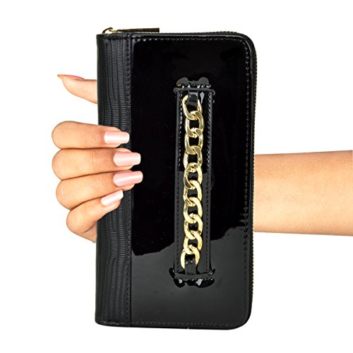 Lined Patent Leather Clutch - Dasein Women's Fashion Wallet Patent Leather Clutch Wallet Card Holder Organizer Ladies Purse (black)