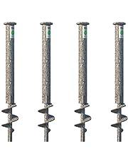 T-BLOCK - Set met 4 grondankerschroeven lengte 50 cm Ø 35-17 zeskantkop 46 mm met vaste punt M12
