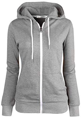 MAJECLO Women's Slim Fit Design Zip Up Hoodie Jacket (Large, 2019_Dark Grey) (Best Slim Fit Hoodies)