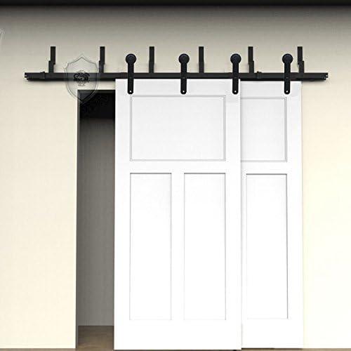 G & J puertas correderas hardware 5 FT/152.4 cm de TE216/487.6 cm redonda Diseño simpel estilo junto calle Bypass superior Montado en Barn Madera Puerta Corredera para armario puerta doble madera Juego