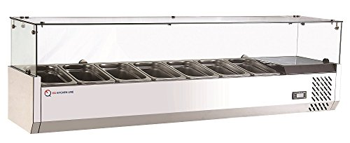 EQ Kitchen Line RT-1500L Refrigerated Counter top Sandwich and Pizza Prep Table, 8.86