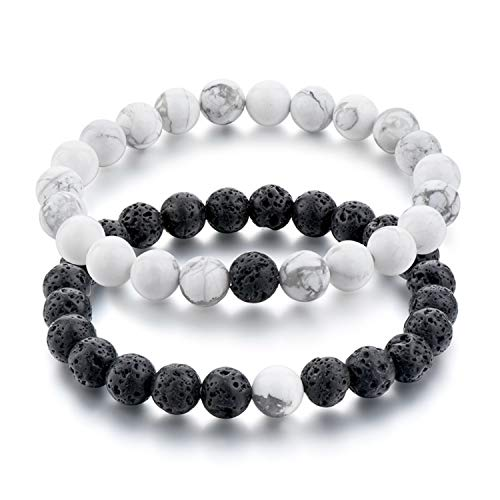 Guy-Sex Black and White Natural Stone Distance Bracelets for Women Men Strand Bracelets & Bangles Lovers Gifts Jewelry SBR160101,SBR160315WHBK