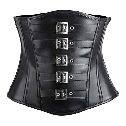 Corsets for Women Bustier Top Like Underbust Waist Trainer Leather Design for Use Fashion Vintage Cincher(Black,XXL)