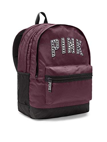 Victoria's Secret PINK Women's Bling Campus Backpack Black Orchid Maroon Studs by Victoria's Secret