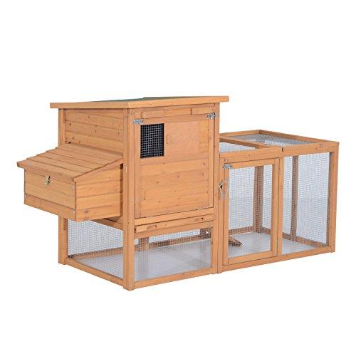 PawHut 72 in. Deluxe Wooden Chicken Coop Hen House with Outdoor Run