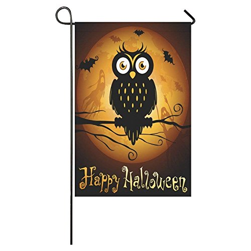 BoloHome Happy Halloween Owl Silhouette on Moon Long Garden Flag Double Sided Banner 12 x 18 Inch, Autumn Festival Decorative Flag for Wedding Anniversary Home Outdoor Decor, 100% Polyester