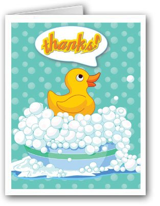 Cute Rubber Ducky Thank You Note Card 10 Boxed Cards /& Envelopes