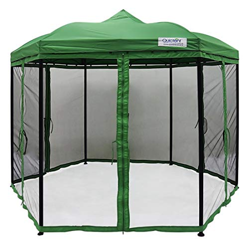 Quictent Hexagon Gazebo with Mosquito Netting Screened Gazebo Canopy Metal Soft Top Pergola for Patio Deck and Garden Waterproof Green
