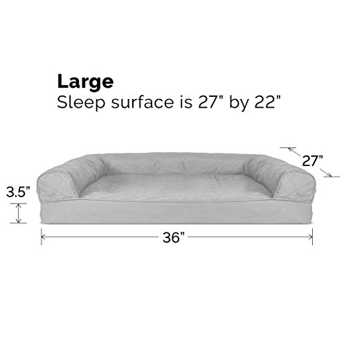 Image of FurHaven Pet Dog Bed | Orthopedic Quilted Sofa-Style Couch Pet Bed for Dogs & Cats, Silver Gray, Large