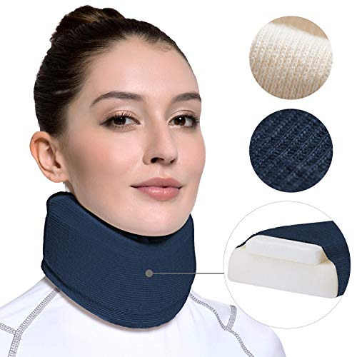 Velpeau Neck Brace -Foam Cervical Collar - Soft Neck Support Relieves Pain & Pressure in Spine - Wraps Aligns Stabilizes Vertebrae - Can Be Used During Sleep (Enhanced, Blue, Large)