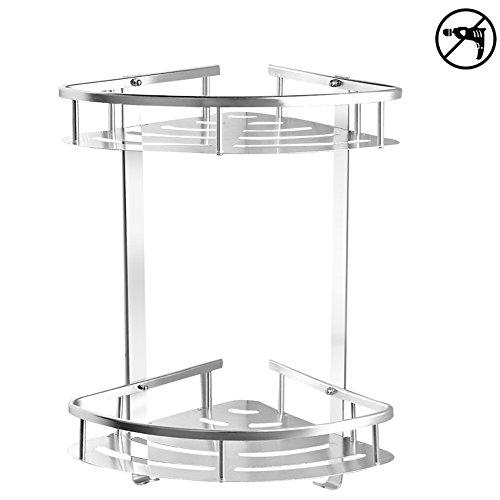 TIANG Bathroom Shelf, Aluminum Shower Corner Wall Mounted Shelf Basket, 12 Inch Triangle Space Saver Shelf Holder with 2 Hooks for Bathroom, Toilet, Hotel, kitchen —2 Tiers Aluminum Solid Wall Mounted Shelf