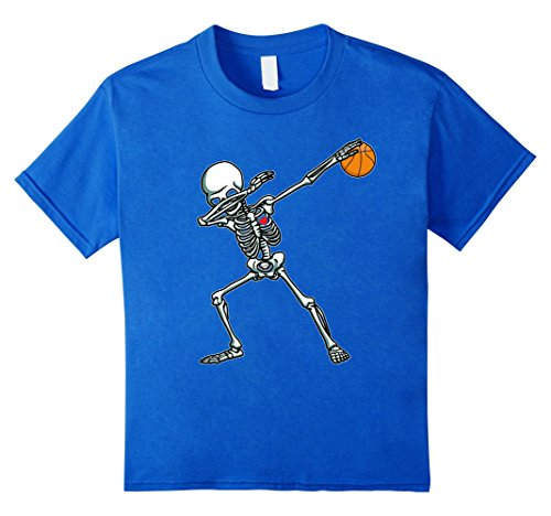Kids Halloween Dabbing Skeleton Basketball TShirt Funny Dab Dance 10 Royal Blue - Basketball Halloween Costumes
