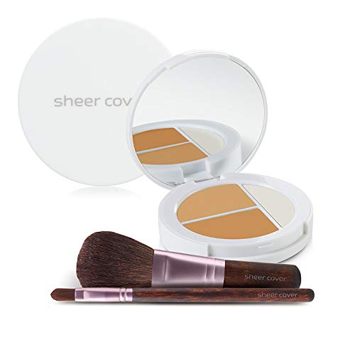 Sheer Cover Studio – Starter Face Kit – Perfect Shade Mineral Foundation – Conceal & Brighten Highlight Trio – with FREE Foundation Brush and Concealer Brush – Tan Shade – - Set Mineral Makeup Cover Sheer