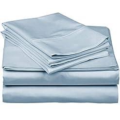 True-Luxury-1000-Thread-Count-100-Egyptian-Cotton-Bed-Sheets-4-Pc-Queen-Light-Blue-Sheet-Set-Single-Ply-Long-Staple-Yarns-Sateen-Weave-Fits-Mattress-Upto-18-Deep-Pocket