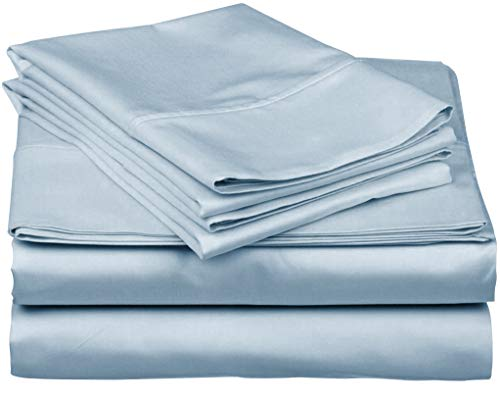 (True Luxury 1000-Thread-Count 100% Egyptian Cotton Bed Sheets, 4-Pc Queen Light Blue Sheet Set, Single Ply Long-Staple Yarns, Sateen Weave, Fits Mattress Upto 18'' Deep Pocket)