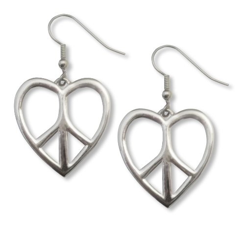 (Hippie Peace Sign in Heart Frame Polished Silver Finish Pewter Earrings)