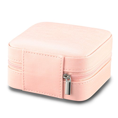 Vlando Small Faux Leather Travel Jewelry Box Organizer Display