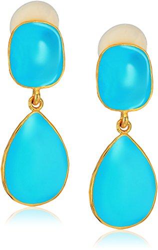 Kenneth Jay Lane Gold Turquoise Enamel Drop Earrings