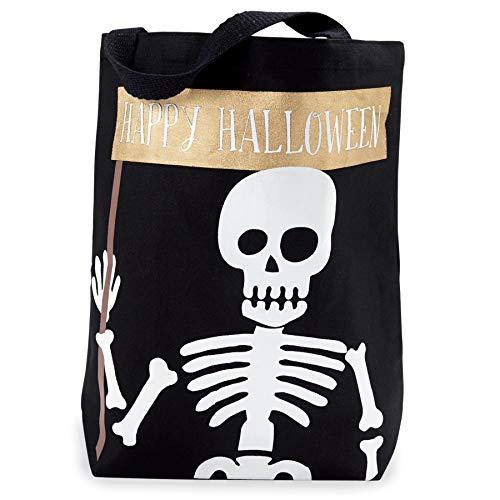 Mud Pie 4265534S Canvas Tote-Skeleton Halloween Treat Bag, (Bag Halloween Tote)