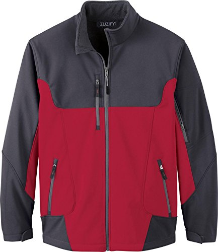 (ZUZIFY Colorblock 3-Layer Soft Shell Jacket. FN1171 X-Large Molten Red/Fossil Grey)