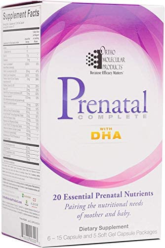 Ortho Molecular – Prenatal Complete with DHA – 30 day supply 6 – 15 capsule and 5 softgel capsule packages