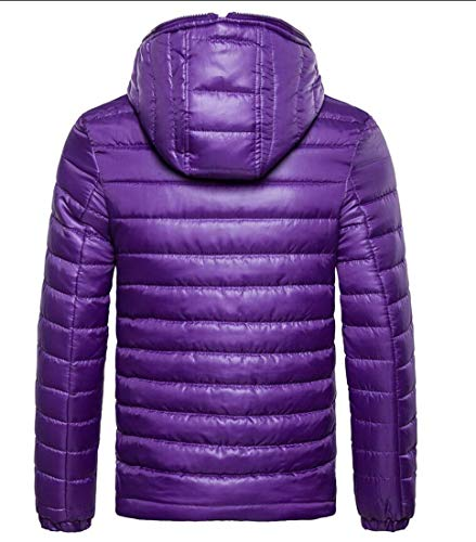 Warm Jacket Down Parkas Puffer Men's Fit Slim Outwear Jacket H Coat Purple amp;E Hooded wtEvUp