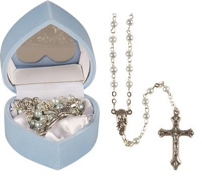 Baby Boy's Baptism Gift - Child's First Rosary Beads - Blue Pearl Effect Rosaries, Including