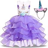 Girls Unicorn Dress Princess Tutu Rainbow Skirts with Unicorn Headband Birthday Wedding Party Tulle Dresses (6 Years(Tag 130), B-b Noble Blueviolet(with Headband))