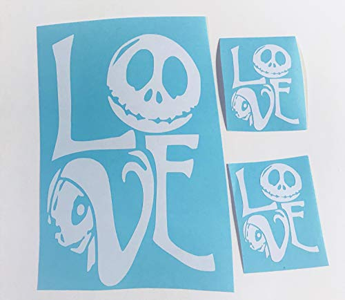 (Jack and Sally Love | three pack white vinyl decal | Eternal)