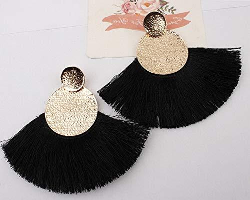 Wausa Boho Hoop Fringe Drop Earrings Circle Fan Shaped Straw Tassel Earrings   Model ERRNGS - 7101  