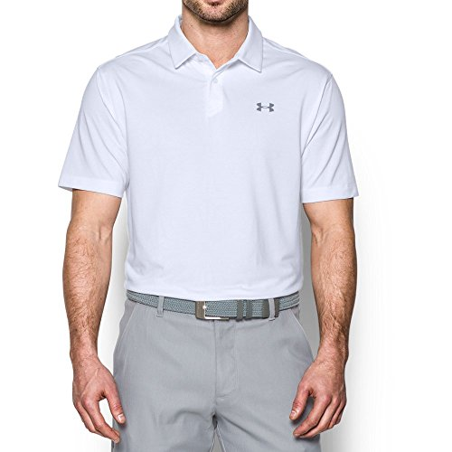 Graphite Golf Shirt - Under Armour Men's CoolSwitch Microthread Polo, White (100)/Graphite, X-Large