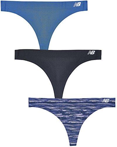 New Balance Womens Breathe Thong Panty 3-Pack, Black/Iris/Blue, X-Large ()