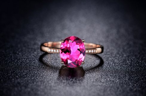 GOWE NEW ARRIVAL REAL 18K ROSE GOLD 1.0 CT REAL DEEP PINKLISH PURPLE TOURMALINE RING 0.02 CT DIAMOND RING 2