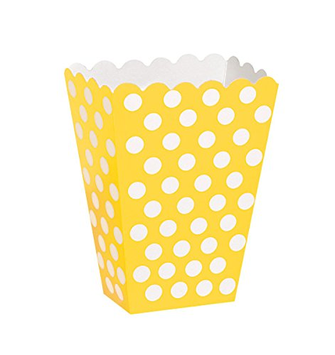 Polka Dot Bumble Bee - Yellow Polka Dot Popcorn Treat Boxes, 8ct