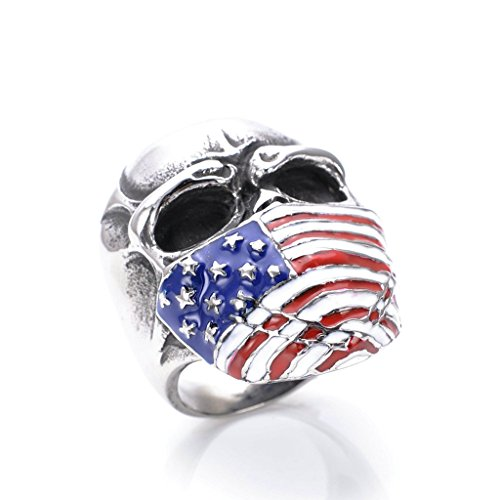 Men's 316L Stainless Steel United States Flag Skull Ring Silver Size 10