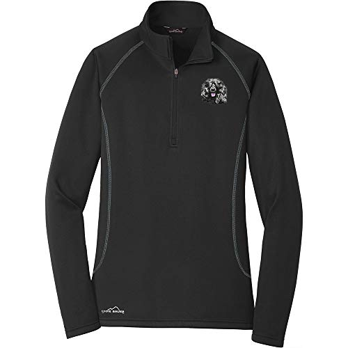 Cherrybrook Breed Embroidered Ladies Eddie Bauer Base Layer Fleece - Medium - Black - Portuguese Water Dog