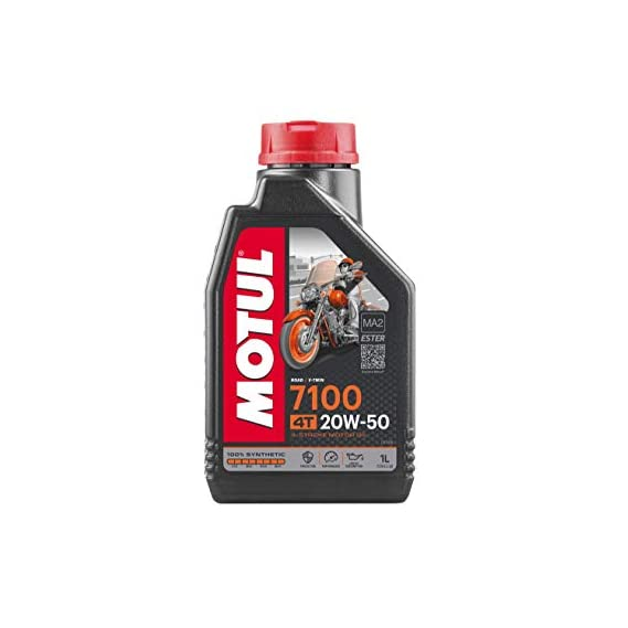 Motul 104103 7100 4T Fully Synthetic 20W-50 Petrol Engine Oil for Bikes (1 L)